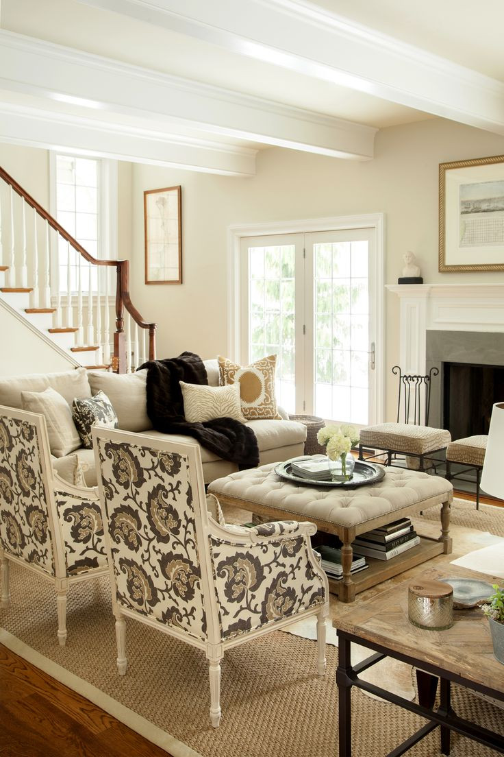 Best ideas about Family Room Chairs . Save or Pin Neutral living room hip traditional large scale print on Now.