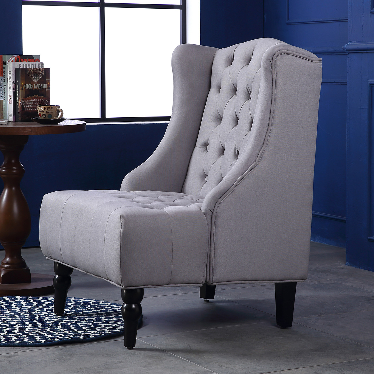 Best ideas about Family Room Chairs . Save or Pin Wingback Accent Chair Tall High back Living Room Tufted Now.