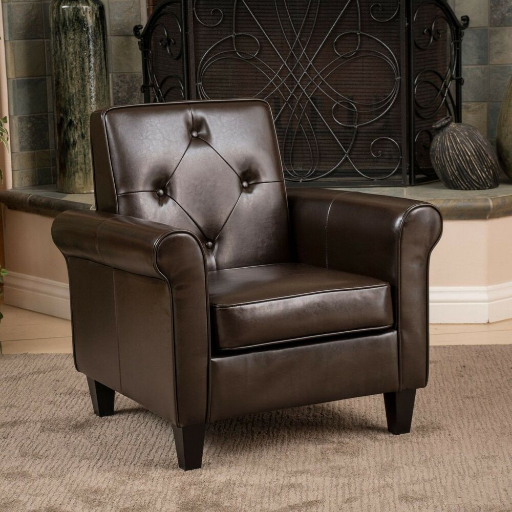 Best ideas about Family Room Chairs . Save or Pin Living Room Furniture Brown Leather Club Chair w Tufted Now.