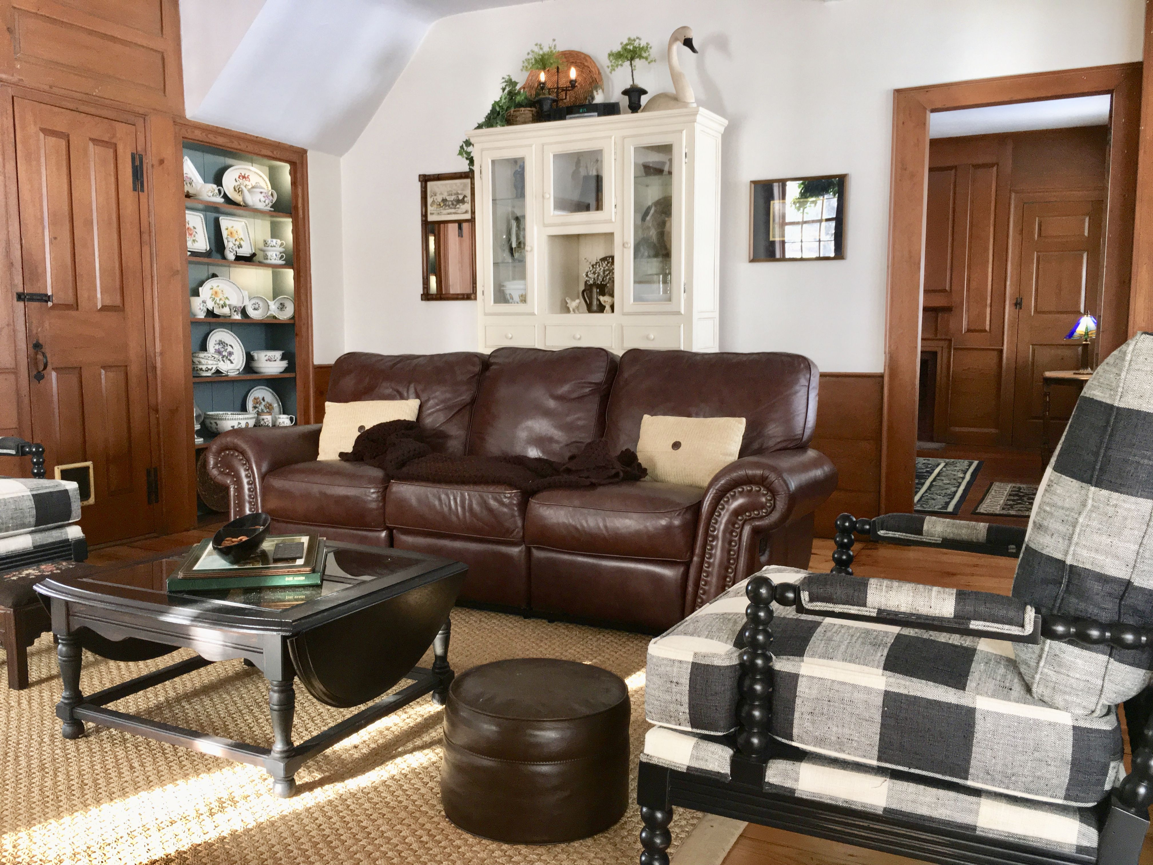 Best ideas about Family Room Couches . Save or Pin Family Room buffalo checks brown leather couch china Now.