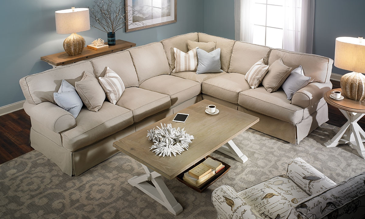 Best ideas about Family Room Sectionals . Save or Pin Two Lanes Natural Classic Slipcovered Sectional Sofa Now.