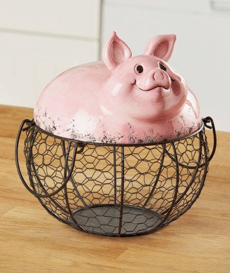 Best ideas about Farm Animal Kitchen Decor . Save or Pin Farm pig wire food storage basket country kitchen animal Now.