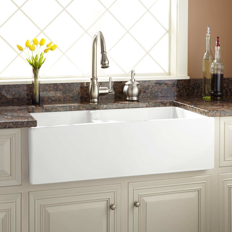 "Best ideas about Farmhouse Bathroom Sink . Save or Pin 36"" Risinger 60 40 fset Bowl Fireclay Farmhouse Sink Now."