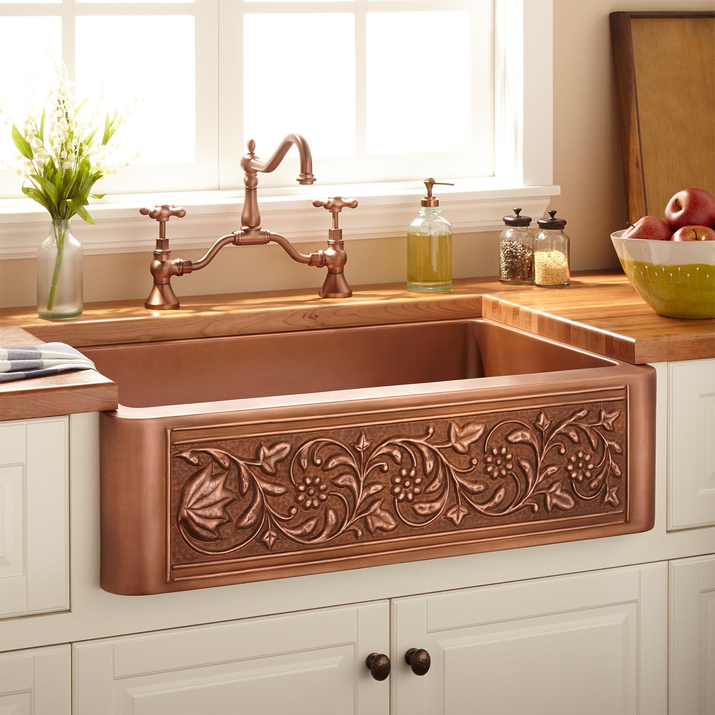 "Best ideas about Farmhouse Bathroom Sink . Save or Pin 33"" Vine Design Copper Farmhouse Sink Kitchen Now."