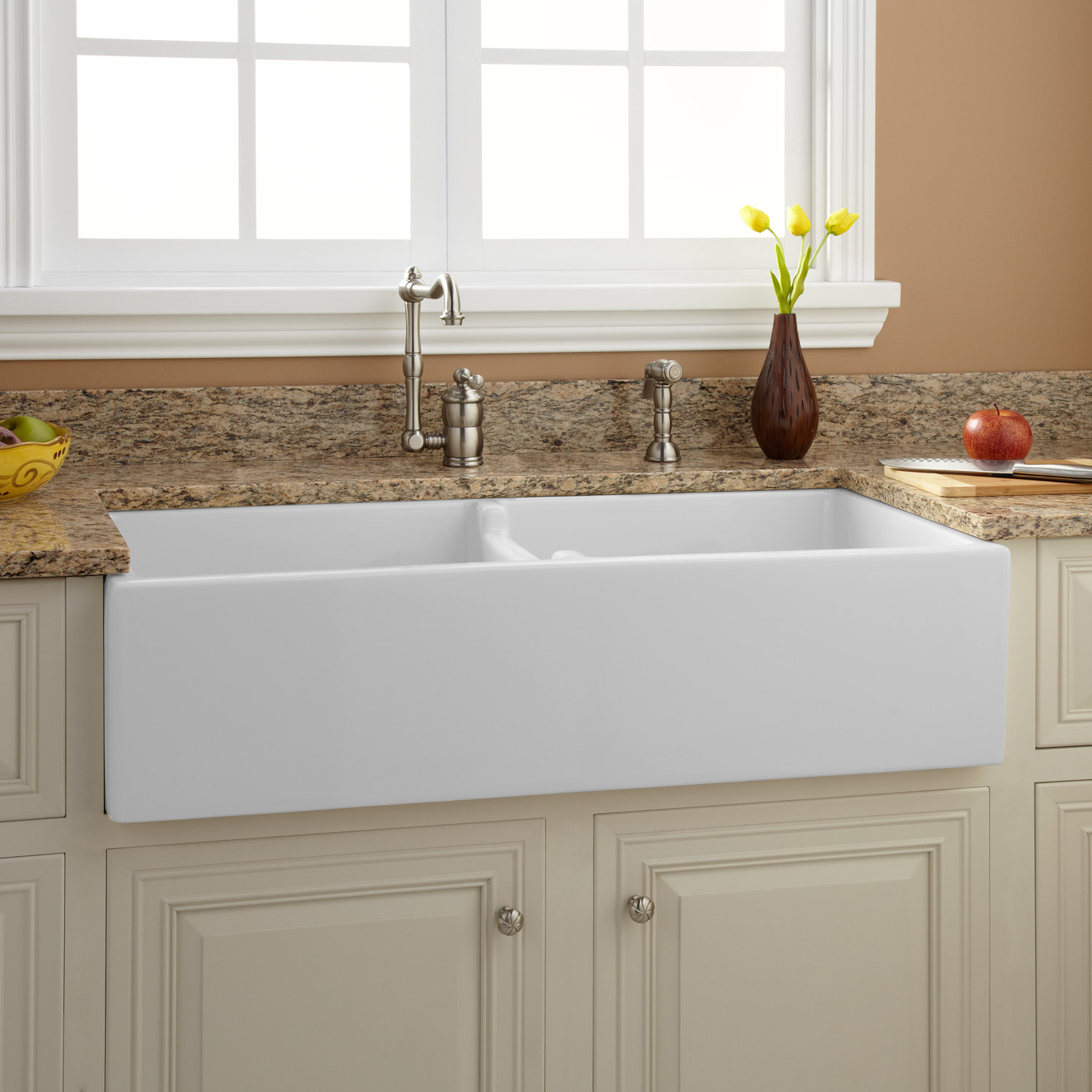 """Best ideas about Farmhouse Bathroom Sink . Save or Pin 39"""" Risinger Double Bowl Fireclay Farmhouse Sink White Now."""