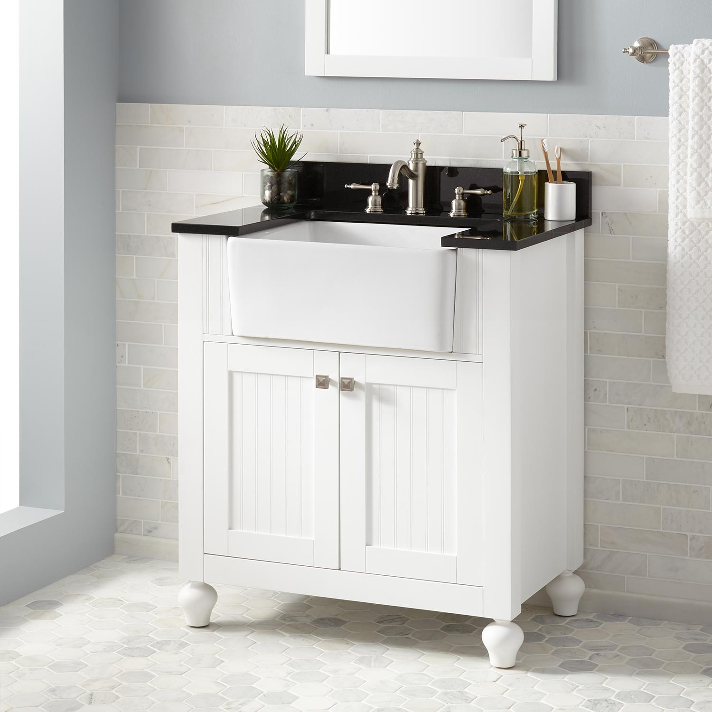 "Best ideas about Farmhouse Bathroom Sink . Save or Pin 30"" Nellie Farmhouse Sink Vanity White Bathroom Now."