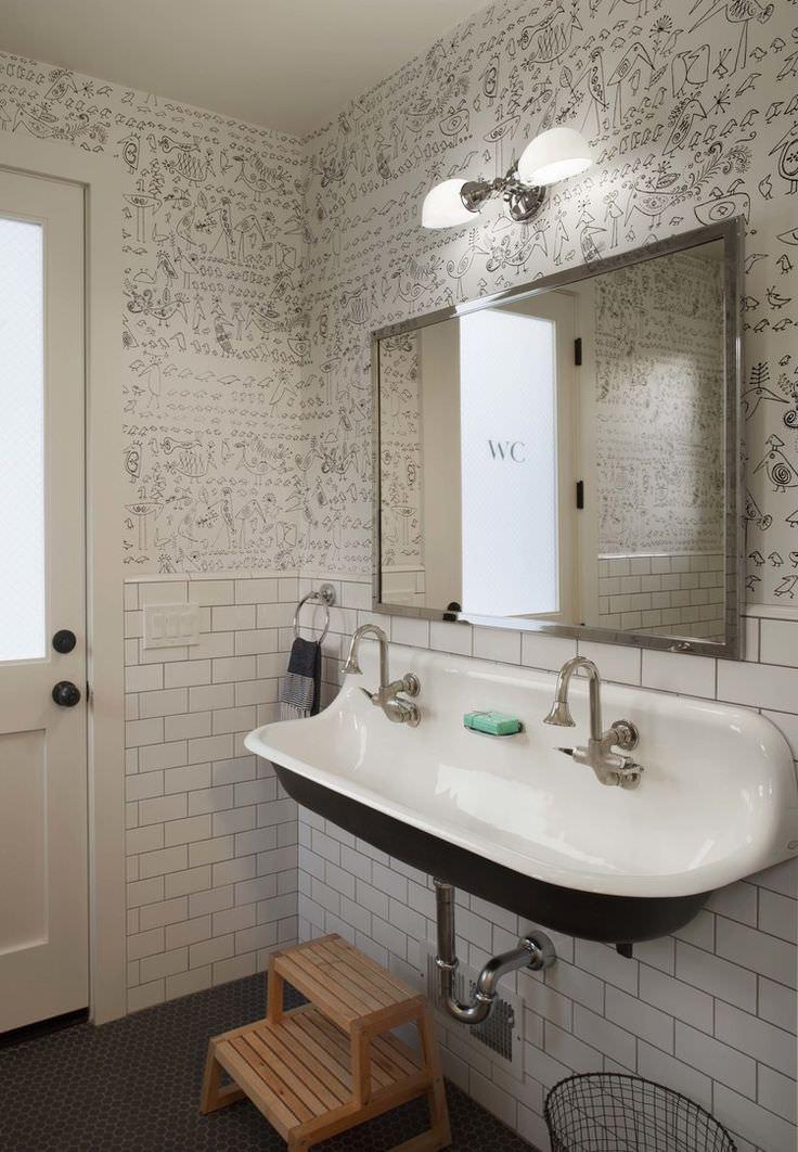 Best ideas about Farmhouse Bathroom Sink . Save or Pin 10 Bathroom Wallpaper Designs Bathroom Designs Now.