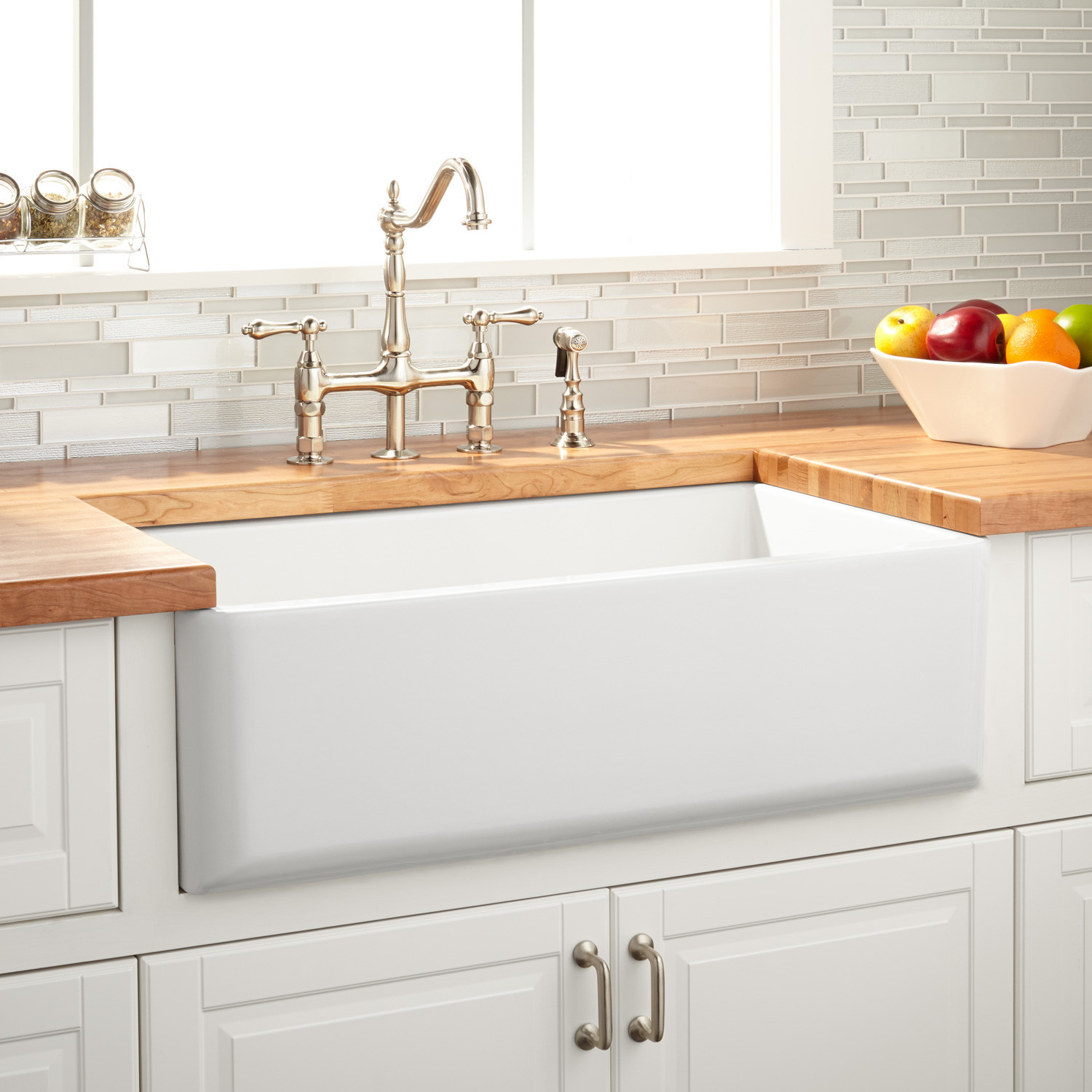 """Best ideas about Farmhouse Bathroom Sink . Save or Pin 33"""" Grigham Reversible Fireclay Farmhouse Sink White Now."""