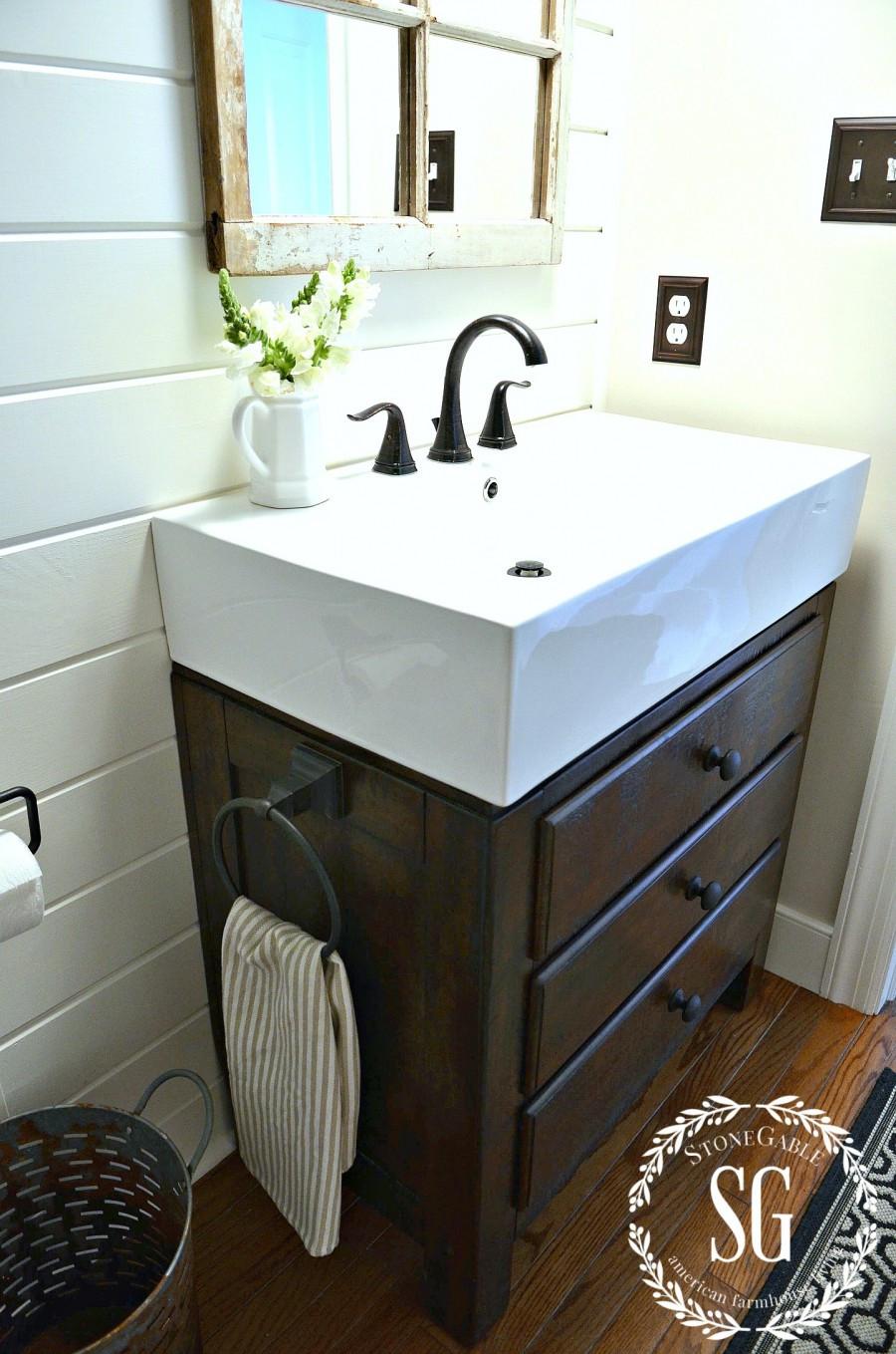 Best ideas about Farmhouse Bathroom Sink . Save or Pin FARMHOUSE POWDER ROOM REVEAL StoneGable Now.