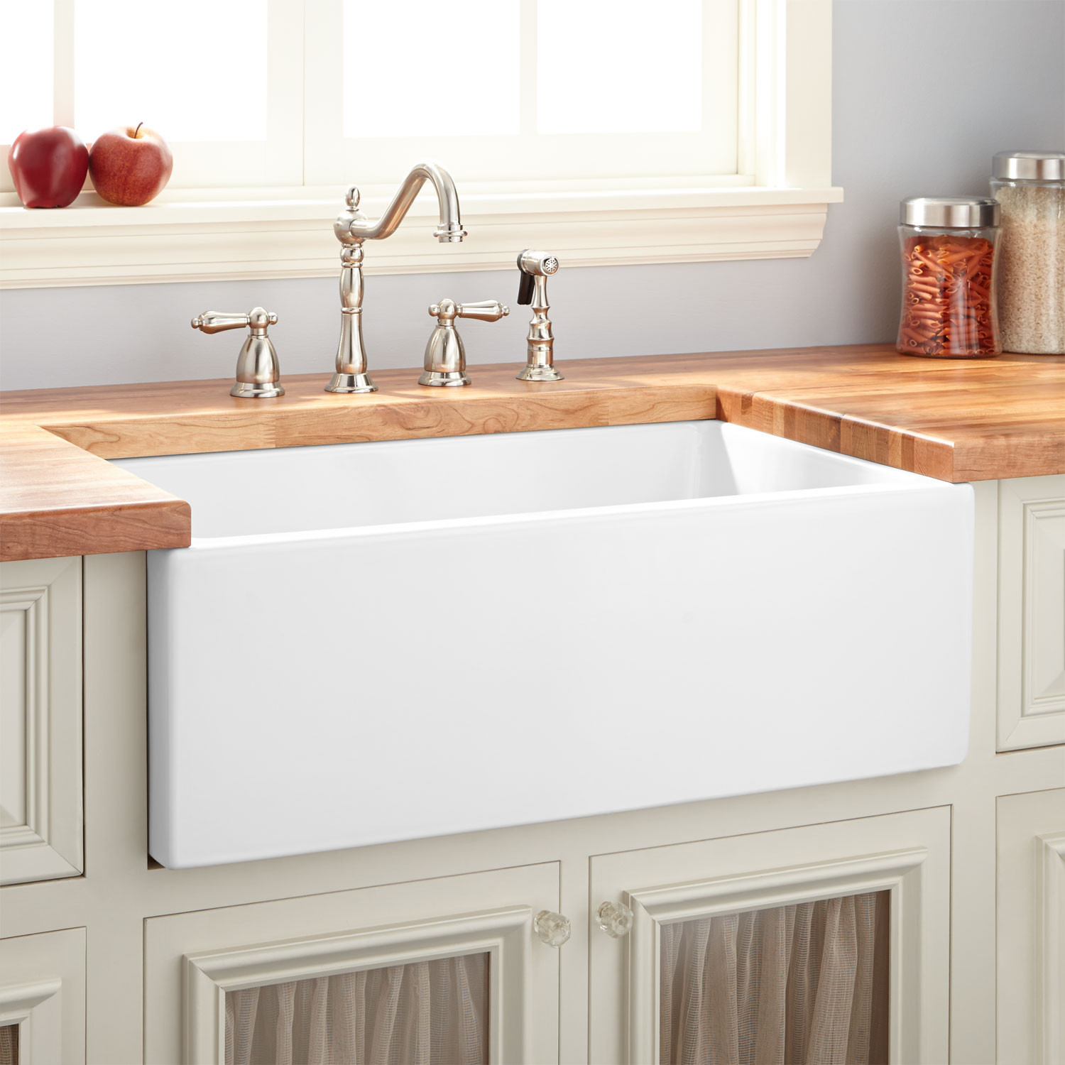 """Best ideas about Farmhouse Bathroom Sink . Save or Pin 30"""" Mitzy Fireclay Reversible Farmhouse Sink Smooth Now."""