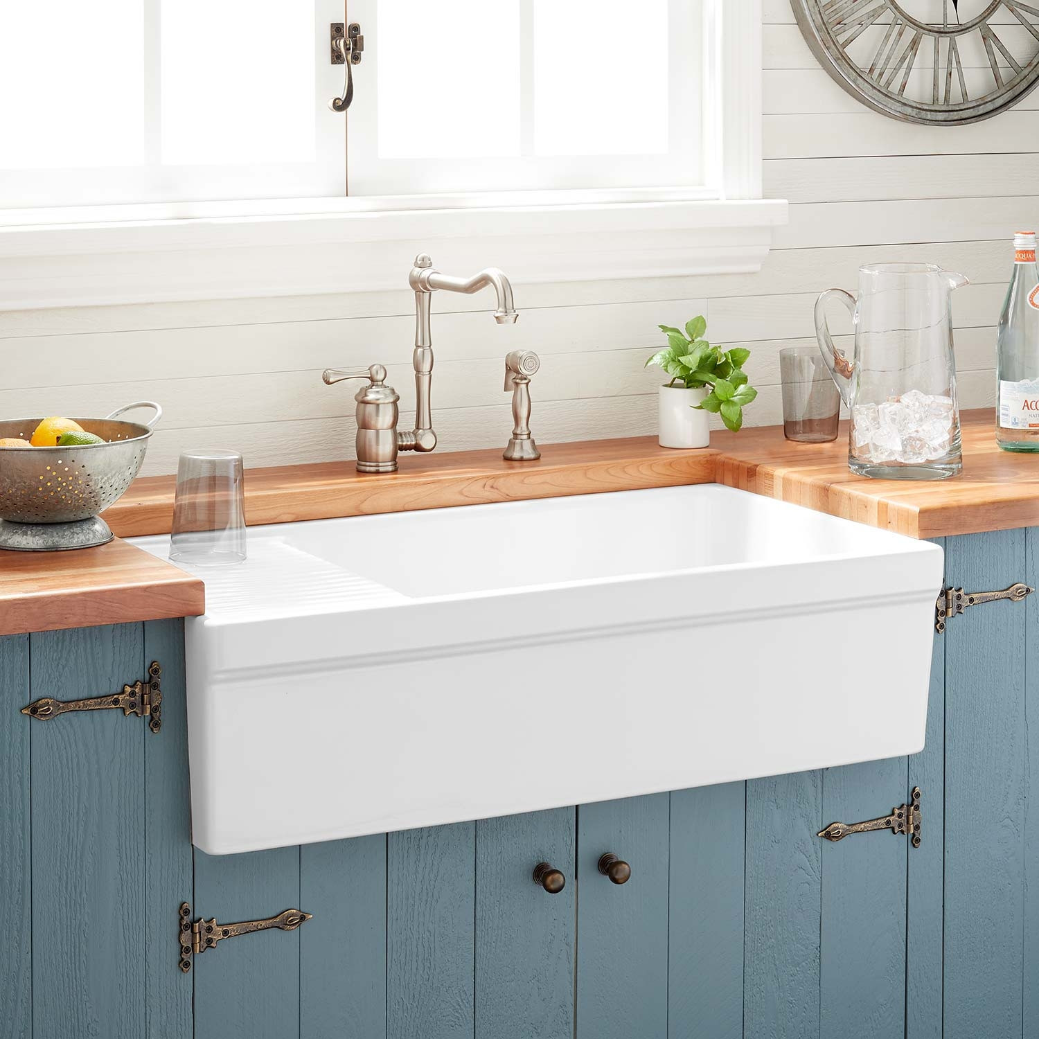 """Best ideas about Farmhouse Bathroom Sink . Save or Pin 36"""" Gallo Fireclay Farmhouse Sink with Drainboard White Now."""