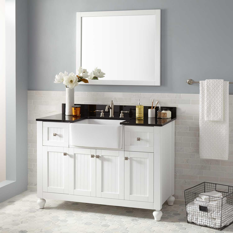 "Best ideas about Farmhouse Bathroom Sink . Save or Pin 48"" Nellie Farmhouse Sink Vanity White Bathroom Now."