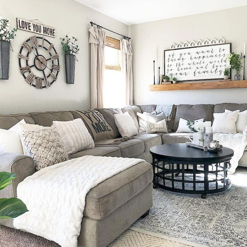 Best ideas about Farmhouse Living Room Ideas . Save or Pin 40 Modern Farmhouse Living Room Design Ideas HOMYSTYLE Now.