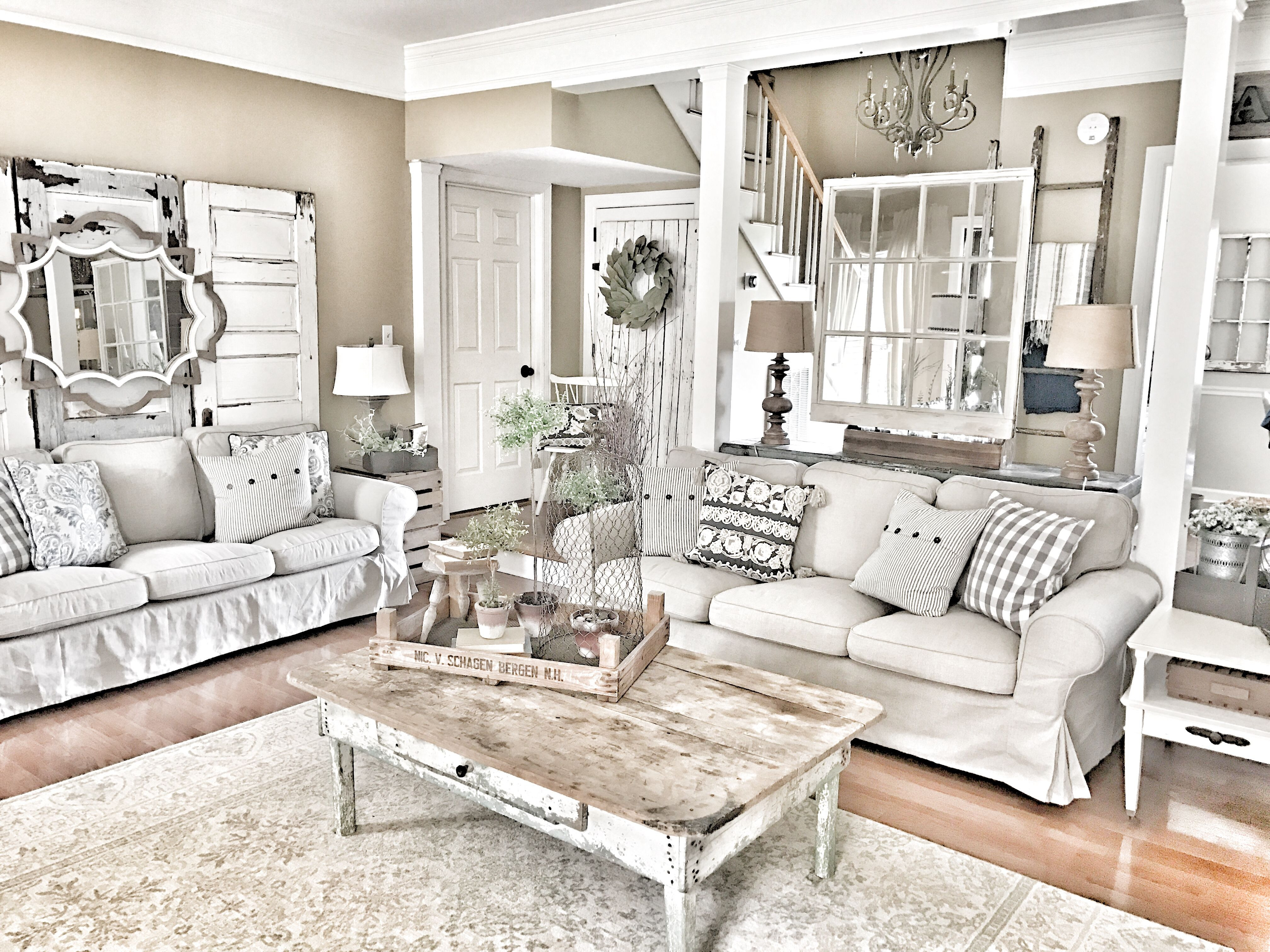 Best ideas about Farmhouse Style Living Room Furniture . Save or Pin Farmhouse living room IKEA Ektorp couches IG bless this Now.