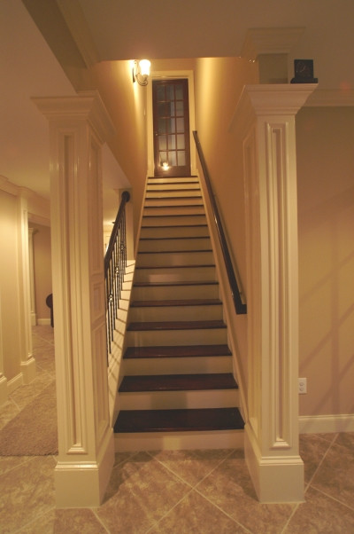 Best ideas about Finished Basement Stairs . Save or Pin Finishing Basement Support Columns Pics Would Be Great Now.