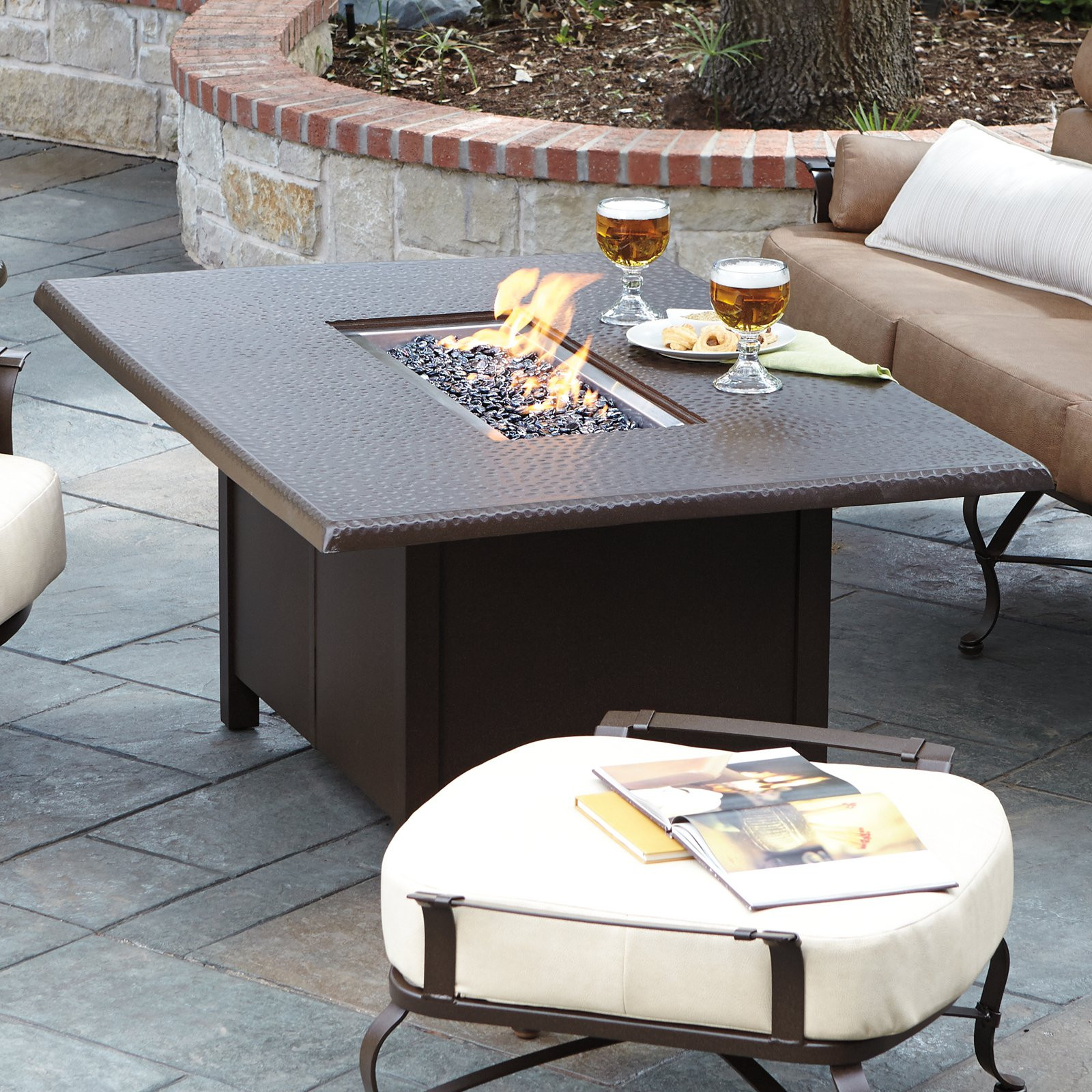 Best ideas about Fire Pit Dining Table . Save or Pin Woodard Hammered 42 x 60 Rectangular Fire Pit Table Now.