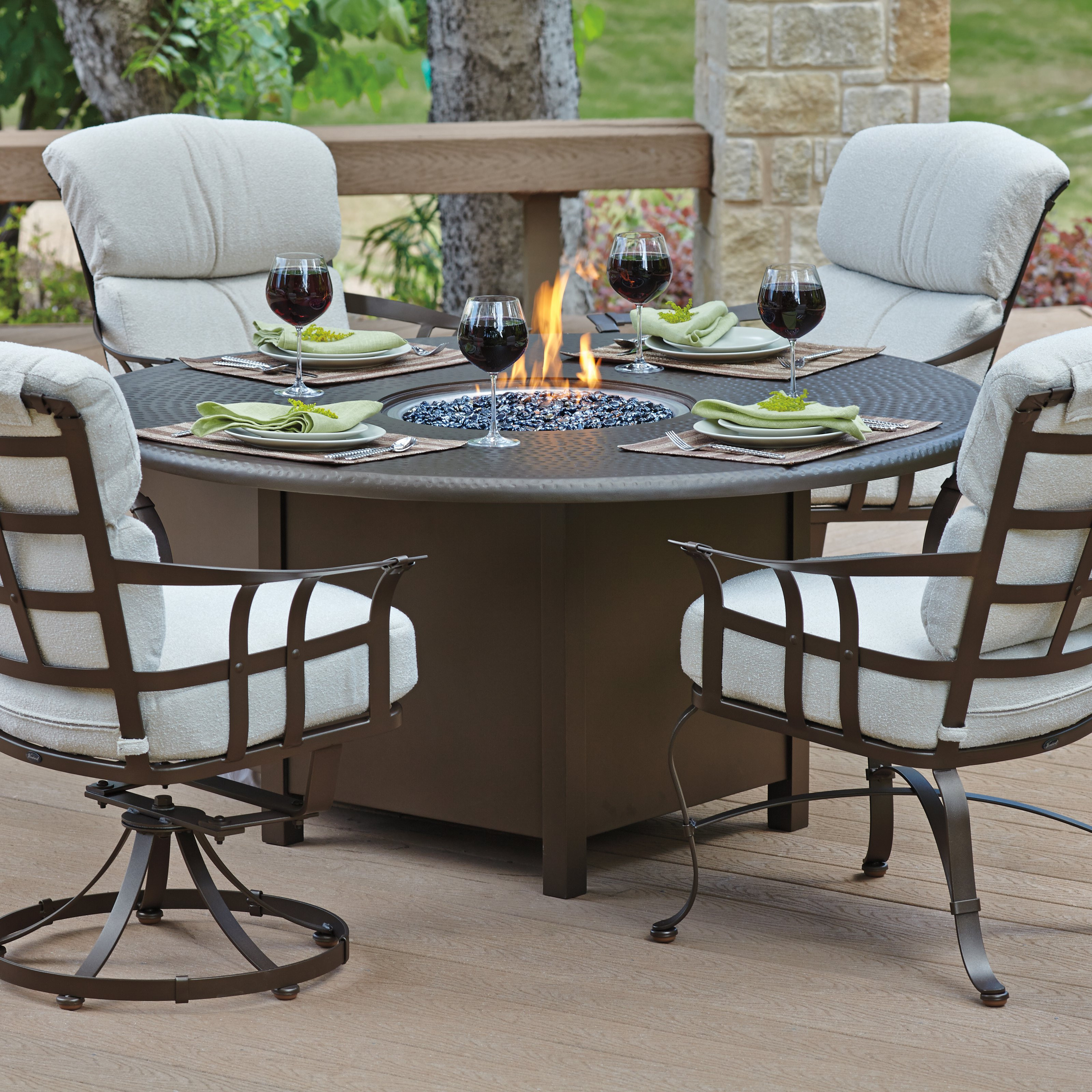 Best ideas about Fire Pit Dining Table . Save or Pin Woodard Hammered 48 in Round Fire Pit Table Patio Now.