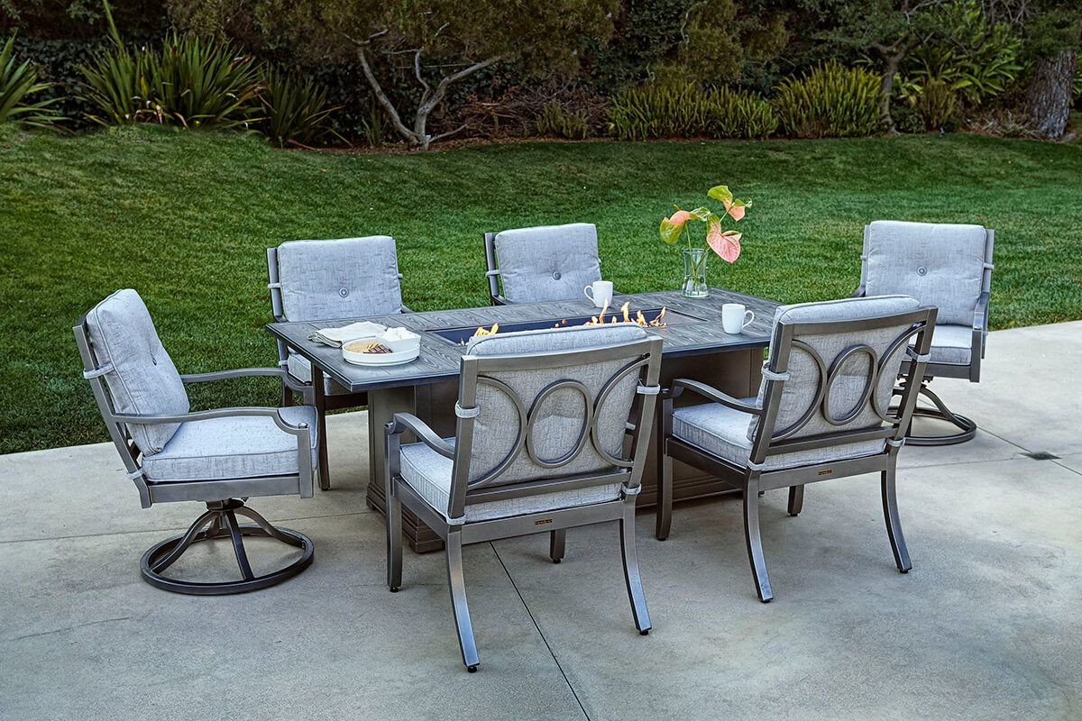 Best ideas about Fire Pit Dining Table . Save or Pin Aragon 7 Pc Fire Pit Dining Table Set Now.