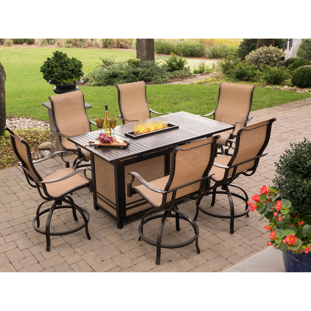 Best ideas about Fire Pit Dining Table . Save or Pin Hanover Monaco 7 Piece High Dining Set with 6 Swivel Now.