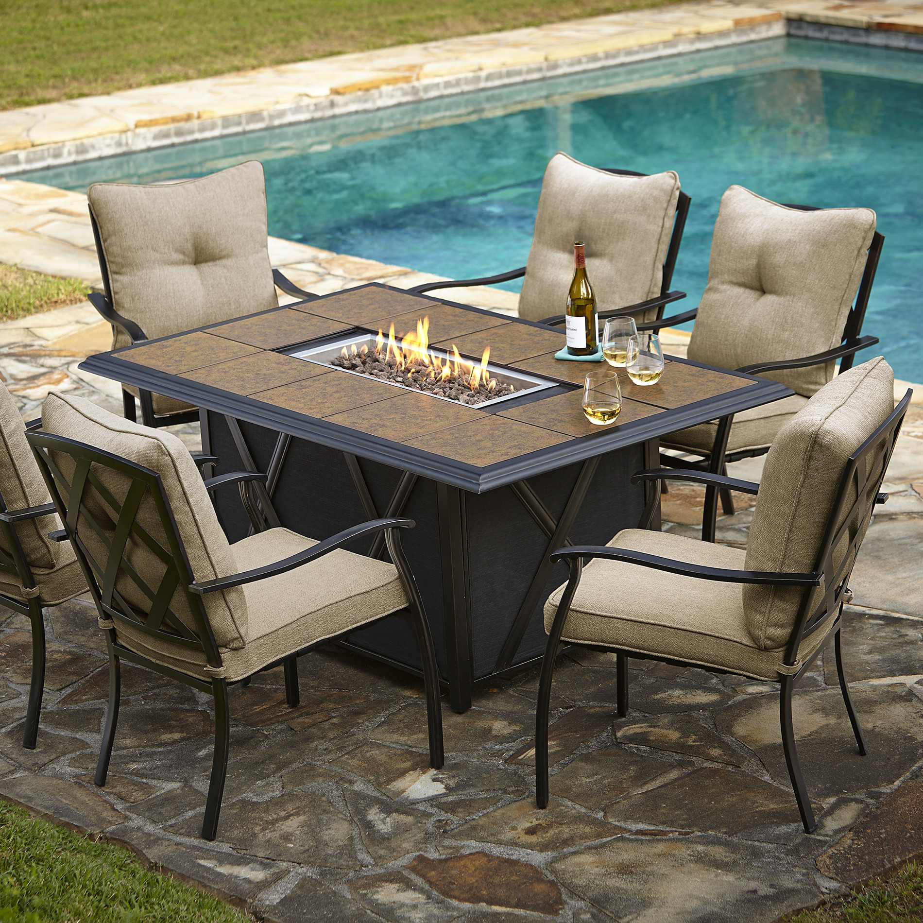 Best ideas about Fire Pit Dining Table . Save or Pin $1314 99 Grand Resort Wildwood 7pc LP Fire Pit Dining Set Now.