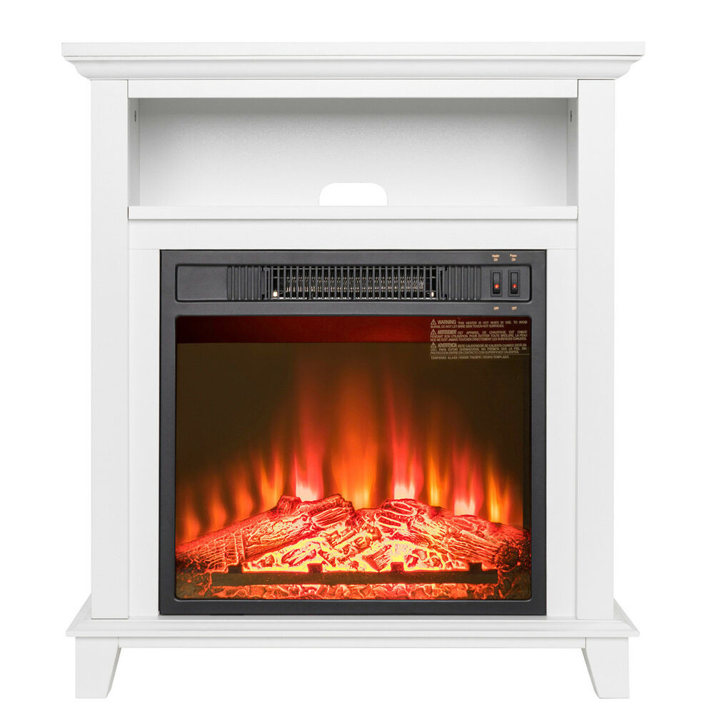 "Best ideas about Fireplace Electric Heater . Save or Pin 27"" White Wooden Mantel Freestanding 1 Setting Logs Now."