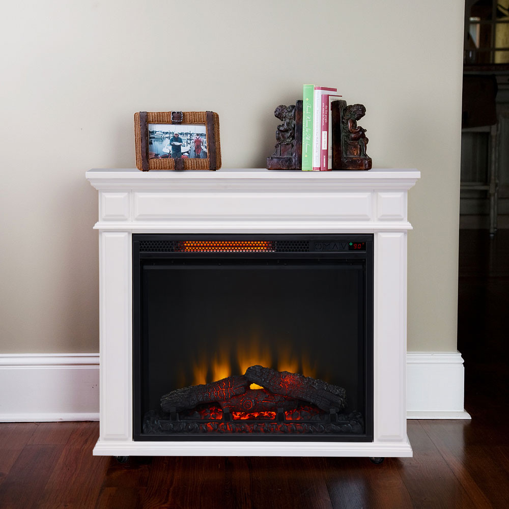 Best ideas about Fireplace Electric Heater . Save or Pin fort Smart Caiden Infrared Rolling Fireplace White Now.