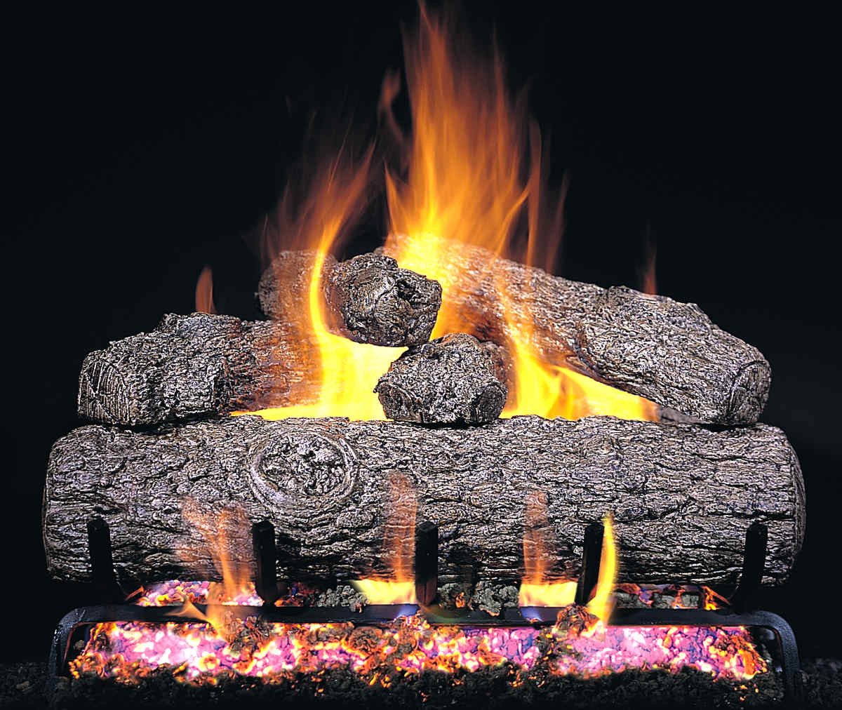 """Best ideas about Fireplace Gas Logs . Save or Pin R H Peterson RG45 42 SS 42"""" Golden Oak Vented Gas Logs Now."""