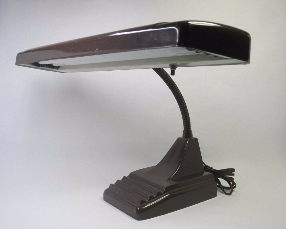 Best ideas about Fluorescent Desk Lamp . Save or Pin Vintage Retro Banker Gooseneck Desk Lamp Dark Brown 19¾ Now.