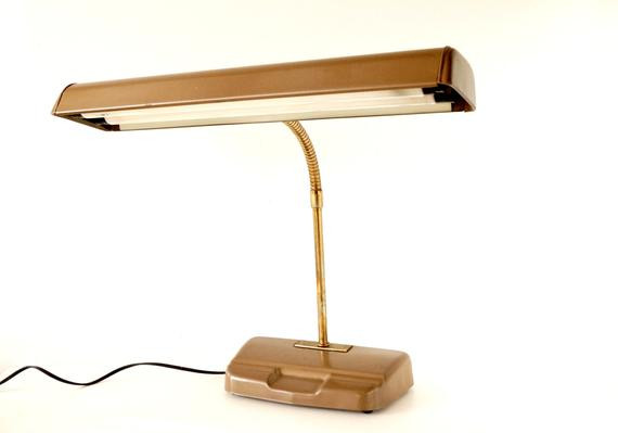 Best ideas about Fluorescent Desk Lamp . Save or Pin Vintage Industrial Fluorescent Gooseneck Desk Lamp in Beige Now.