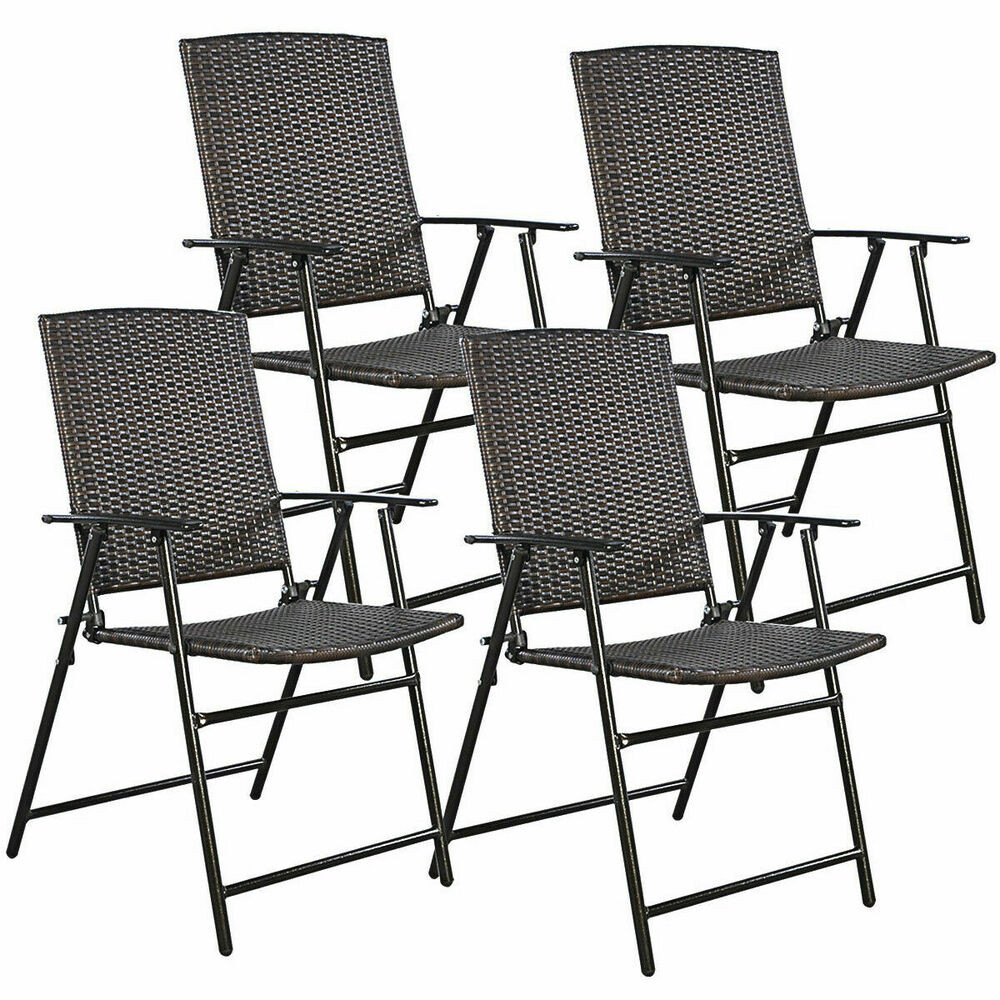 Best ideas about Folding Chairs Outdoor . Save or Pin 4 PCS Brown Folding Rattan Chair Furniture Outdoor Indoor Now.