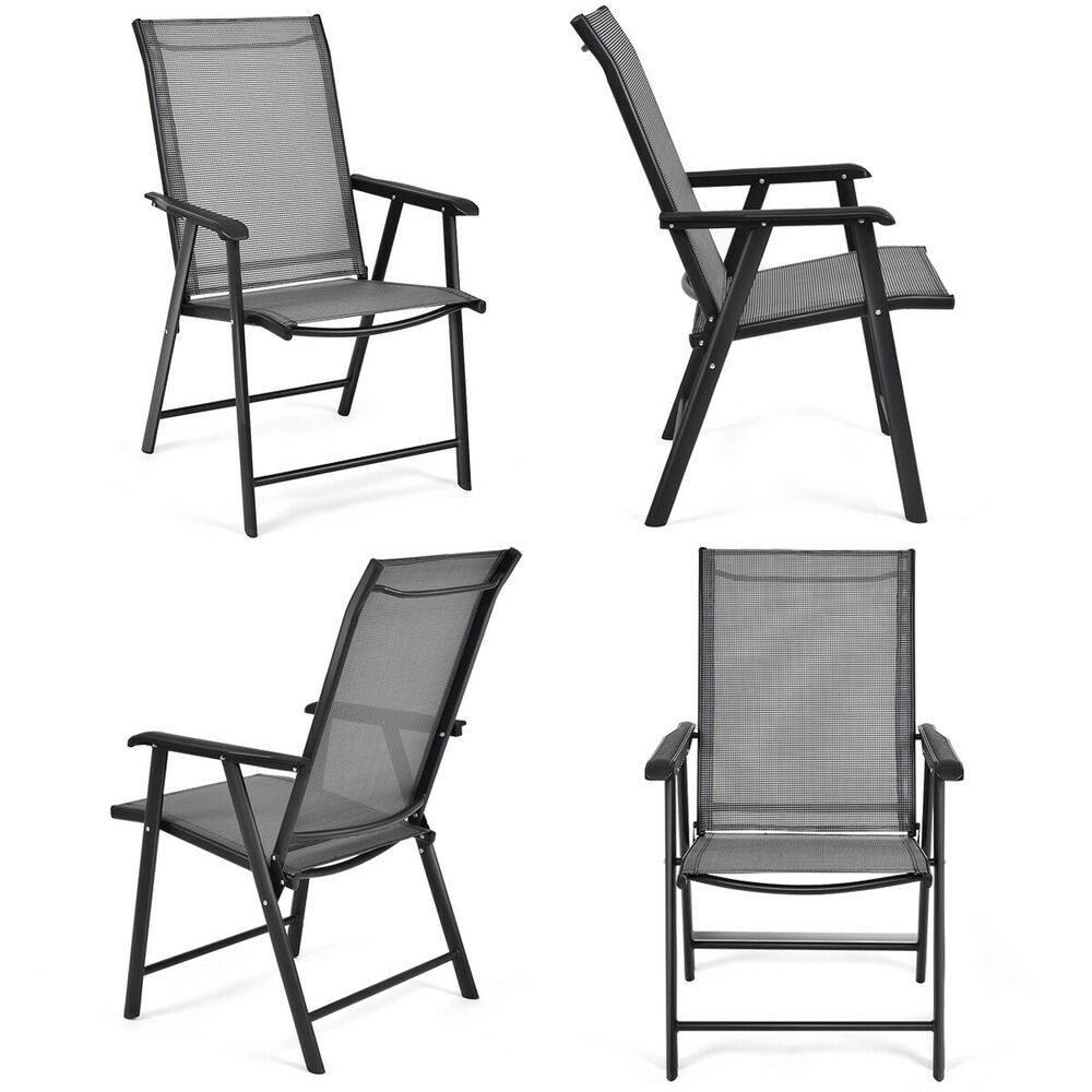 Best ideas about Folding Chairs Outdoor . Save or Pin Set of 4 Outdoor Patio Folding Chairs Camping Deck Garden Now.