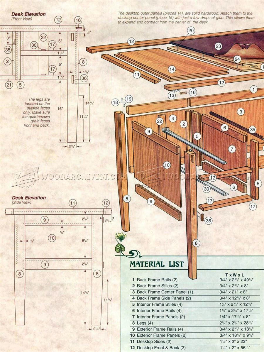Best ideas about Free Arts And Crafts Woodworking Plans . Save or Pin Arts and Crafts Desk Plans • WoodArchivist Now.