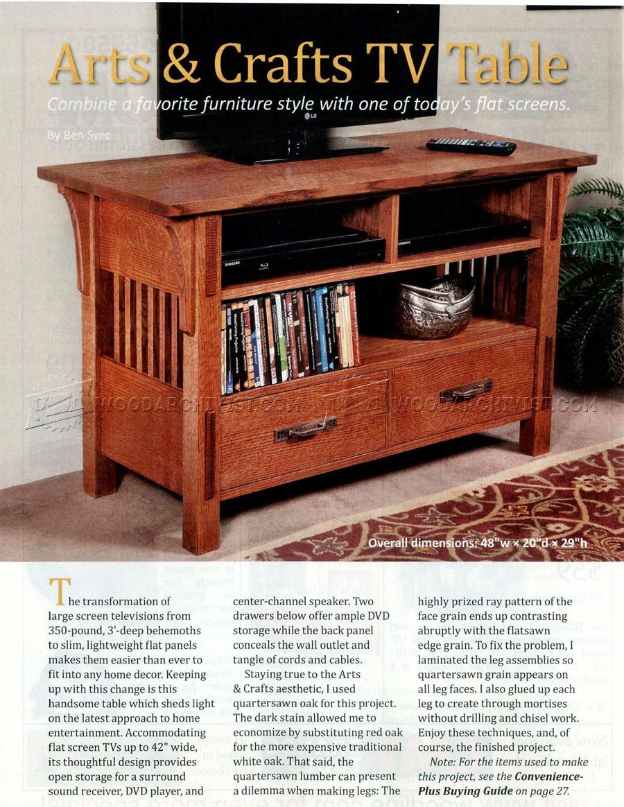Best ideas about Free Arts And Crafts Woodworking Plans . Save or Pin Arts & Crafts TV Stand Plans • WoodArchivist Now.