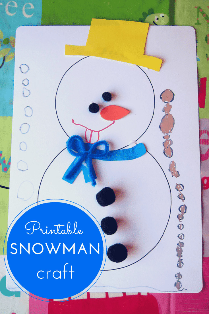 Best ideas about Free Kids Crafts . Save or Pin Printable snowman craft for kids Now.