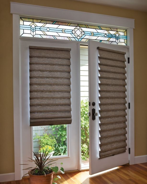 Best ideas about French Patio Doors With Blinds . Save or Pin Roman shade on French door with Stained Glass Now.