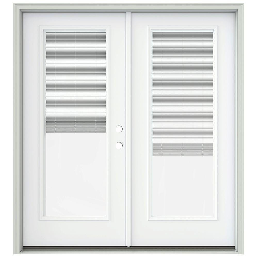 Best ideas about French Patio Doors With Blinds . Save or Pin JELD WEN 72 in x 80 in Brilliant White Prehung Left Hand Now.
