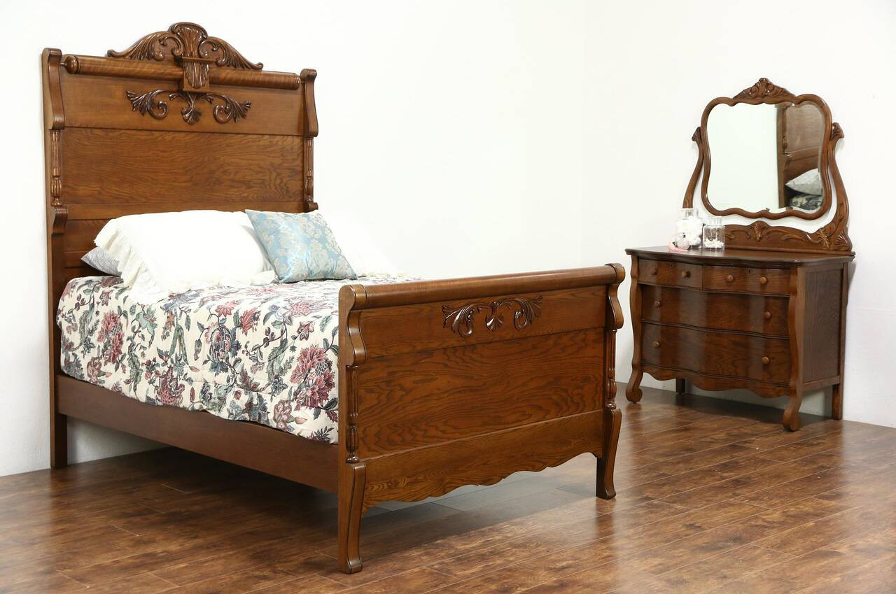 Best ideas about Full Bedroom Set . Save or Pin Victorian Carved Oak Antique 1900 Bedroom Set Full Size Now.