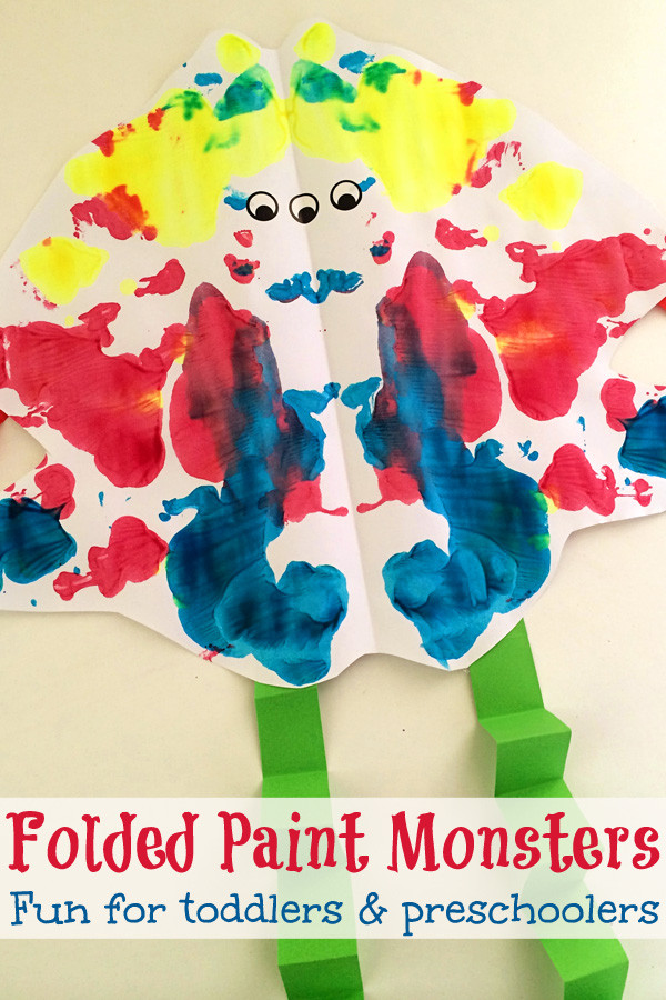 Best ideas about Fun Art Activities For Preschoolers . Save or Pin Folded Paint Monsters Toddler & Preschool Art Now.