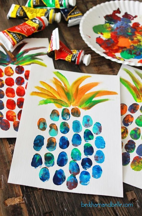 Best ideas about Fun Art Projects For Preschoolers . Save or Pin Pineapple thumbprint painting Perfect for summer fun Now.