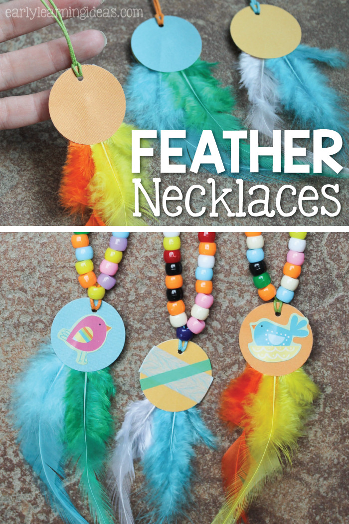 Best ideas about Fun Craft For Preschoolers . Save or Pin Fine Motor Activity for Kids Make Feather Necklaces Now.
