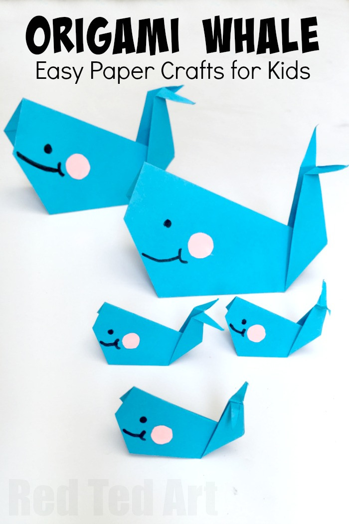 Best ideas about Fun Easy Kids Craft . Save or Pin Easy Origami Whale Paper Crafts for Kids Red Ted Art s Now.