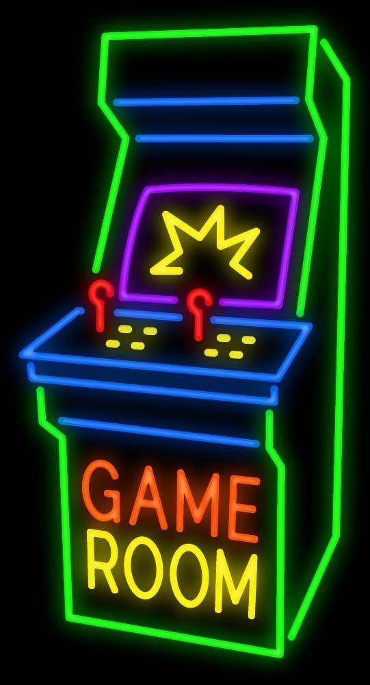 Best ideas about Game Room Neon Sign . Save or Pin Game Room Arcade Cabinet Neon Sign Now.