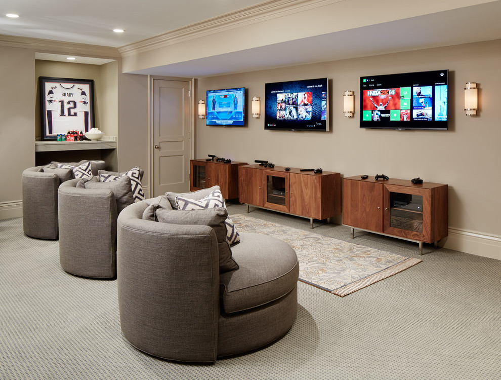 Best ideas about Game Room Seating . Save or Pin framed game room with l andscape home theater southwestern Now.