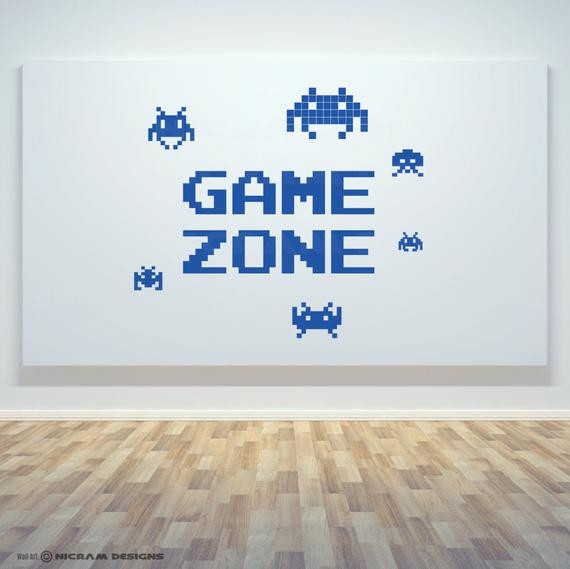 Best ideas about Game Room Wall Art . Save or Pin Game Zone Retro Gamer Room Wall Art Vinyl Invaders Decal Door Now.