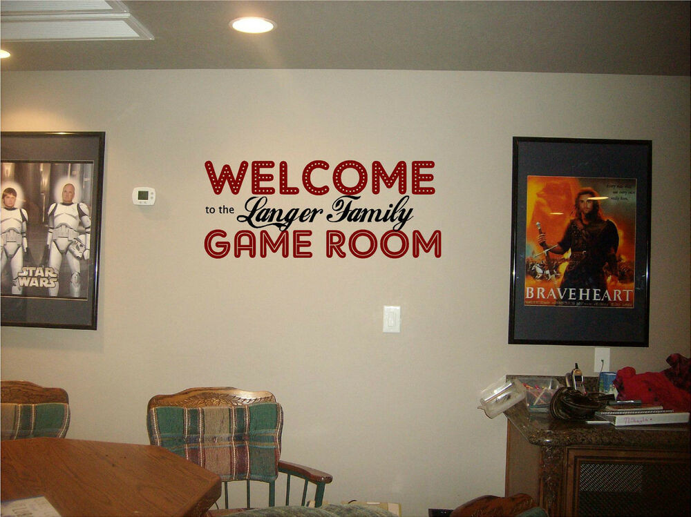 Best ideas about Game Room Wall Art . Save or Pin Wel e GAME ROOM with your family name wall sign vinyl Now.