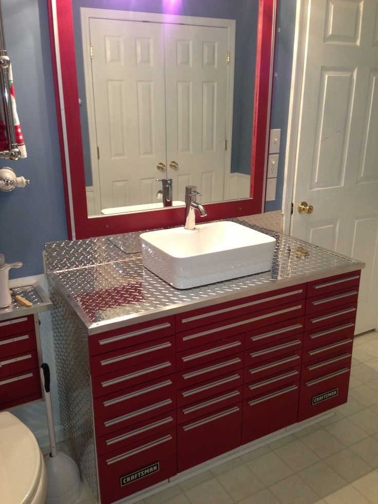 Best ideas about Garage Bathroom Ideas . Save or Pin Craftsman Tool Box Vanity with Vessel Sink Now.