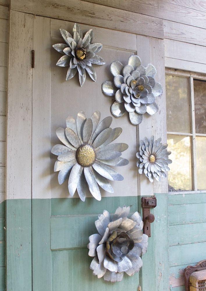 Best ideas about Garden Wall Art . Save or Pin 5 Galvanized Metal Flower Wall Art Sculptures Indoor Now.