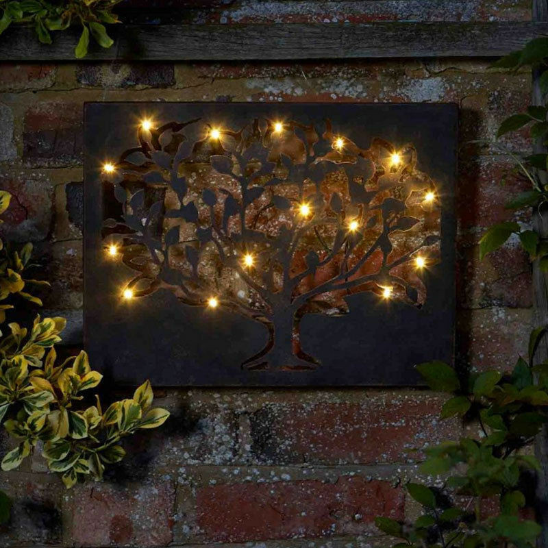 Best ideas about Garden Wall Artwork . Save or Pin LED Tree Metal Indoor Outdoor Metal Wall Art Light Timer Now.