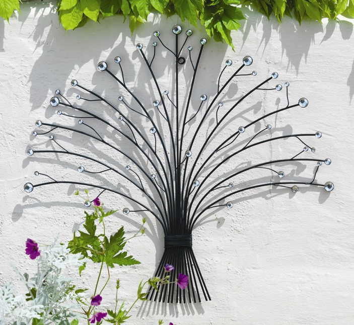Best ideas about Garden Wall Artwork . Save or Pin Outdoor Metal Glass Bead Bouquet Garden Wall Art H55cm £ Now.
