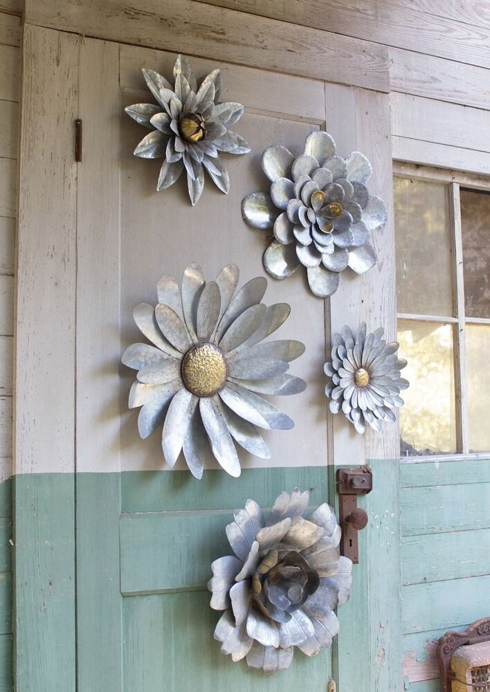 Best ideas about Garden Wall Artwork . Save or Pin 5 Galvanized Metal Flower Wall Art Sculptures Indoor Now.
